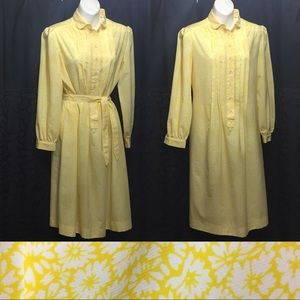 Light weight vintage sheath dress S Yellow floral